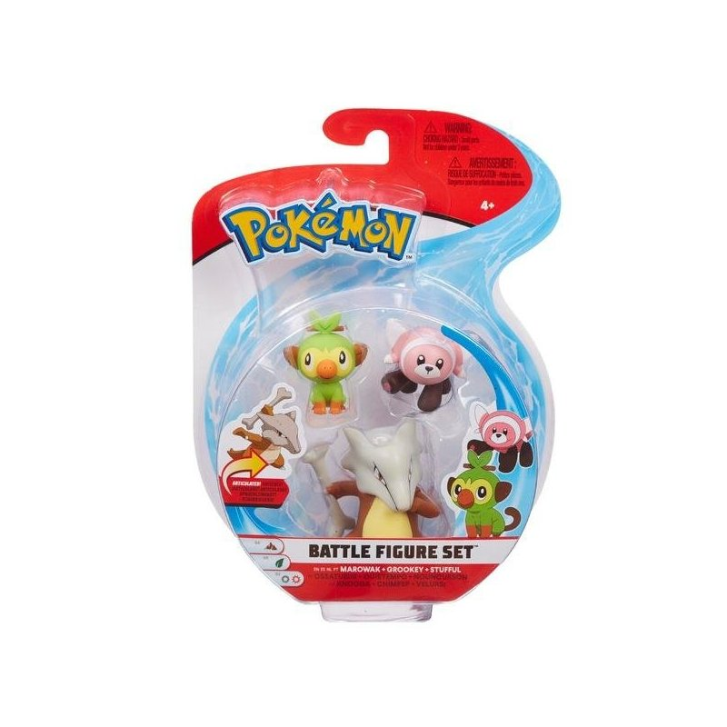 Pokémon Battle Mini Figures 3-Packs - Grookey Stufful & Marowak