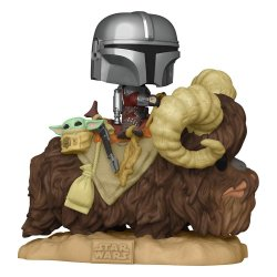 Star Wars The Mandalorian POP! Deluxe Vinyl Figure The Mandalorian on Wantha with Child in Bag 9 cm