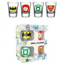 DC Comics Logos shot glasses pack 4