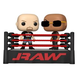 WWE POP Moment! Vinyl Figures 2-Pack The Rock vs Stone Cold in Wrestling Ring 9 cm