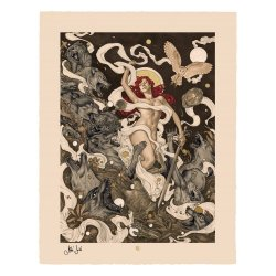 Original Artist Series Art Print Red by Máté Jakó 46 x 58 cm - unframed