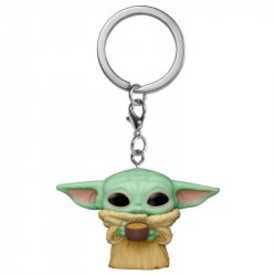 POP! keychain Pocket Star Wars The Mandalorian Yoda The Child with Cup