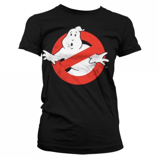 Ghostbusters Distressed Logo Girly T-Shirt (Black)