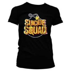 Suicide Squad Bomb Logo Girly Tee (Black) - action figures