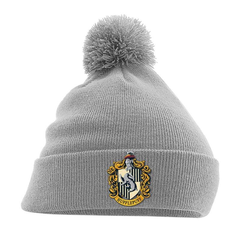 034b772e1d7 Harry Potter Pom Pom Beanie Hufflepuff Crest Grey. Loading zoom
