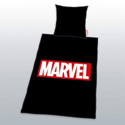 Marvel Comics Duvet Set Logo Black 135 x 200 cm / 80 x 80 cm