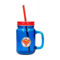 DC Comics Mason Jar Glass Superman Logo