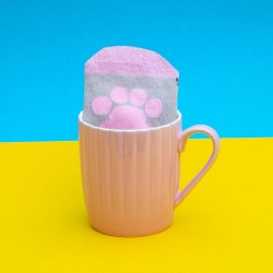 Pusheen Sock in a Mug Pink Cupcake