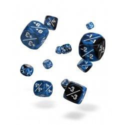 Oakie Doakie Dice D6 Dice 12 mm Marble/Gemidice Positive & Negative - Blue (14)