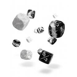 Oakie Doakie Dice D6 Dice 12 mm Marble/Gemidice Positive & Negative - White (14)