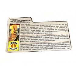 GI Joe – Dr. Mindbender (v1) Dokter Hersenspoeler Dutch File Card