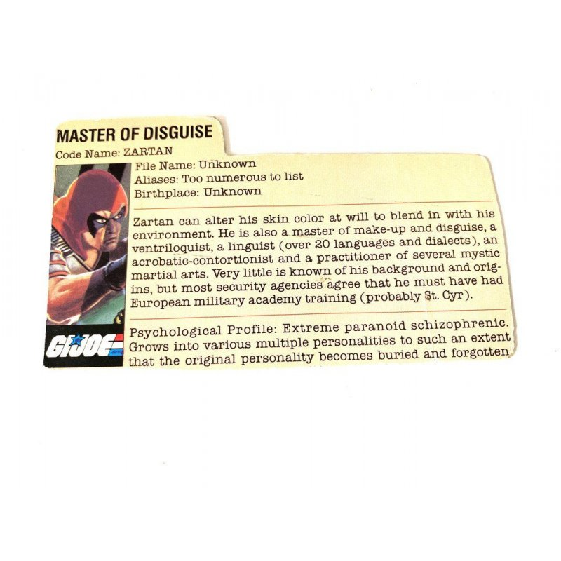 GI Joe – Zartan (v1) File Card