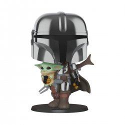 Star Wars The Mandalorian Super Sized POP! Vinyl Figure The Mandalorian holding The Child 25 cm